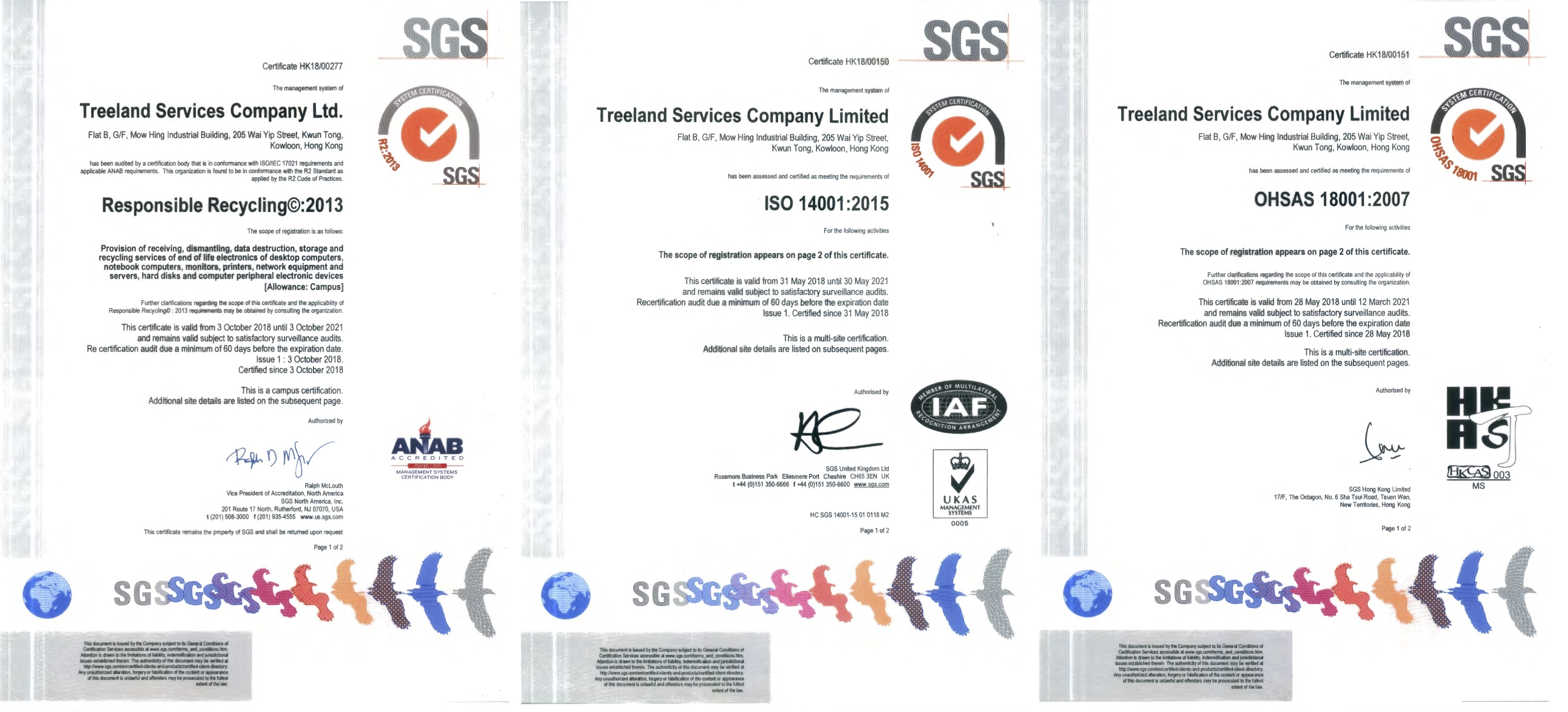 31-Oct-2018 Updated SERI R2:2013, ISO14001:2015 & OHSAS18001:2007 Certificate